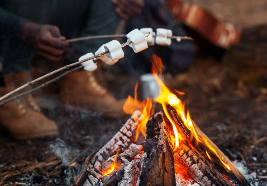 People roasting marshmallows over campfire